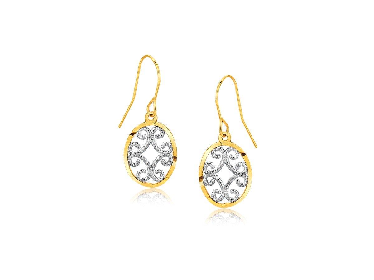 Fancy Drop Earrings in 10K Two-Tone Gold