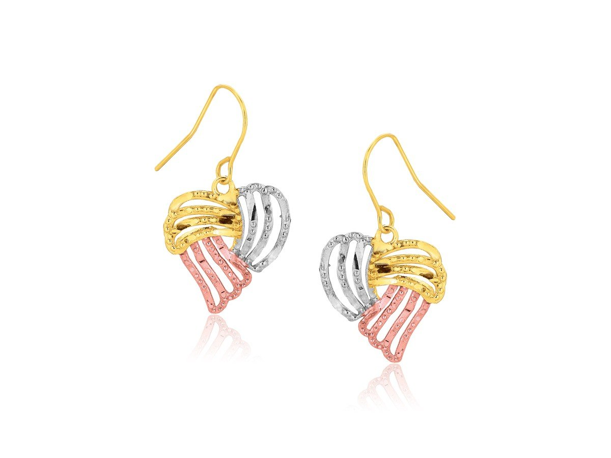 Heart Drop Earrings in 10K Tri-ColorYellow, Rose & White Gold