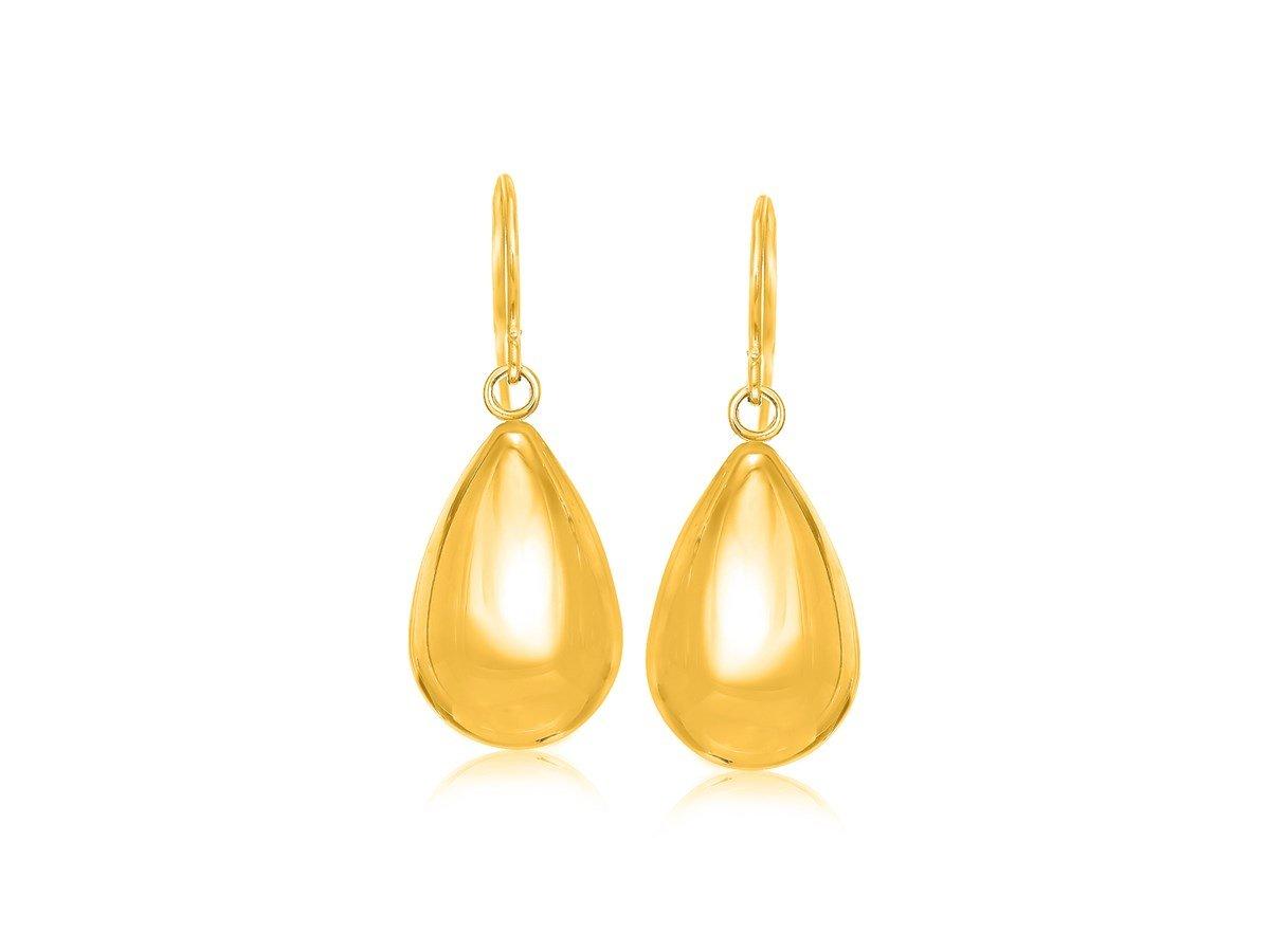 Puffed Teardrop Motif Dangling Earrings in 14K Yellow Gold