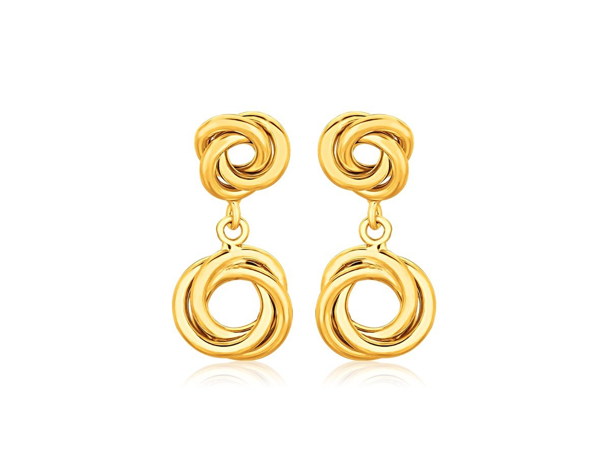 Stud Love Knot Earrings with Drop Dangle in 14K Yellow Gold