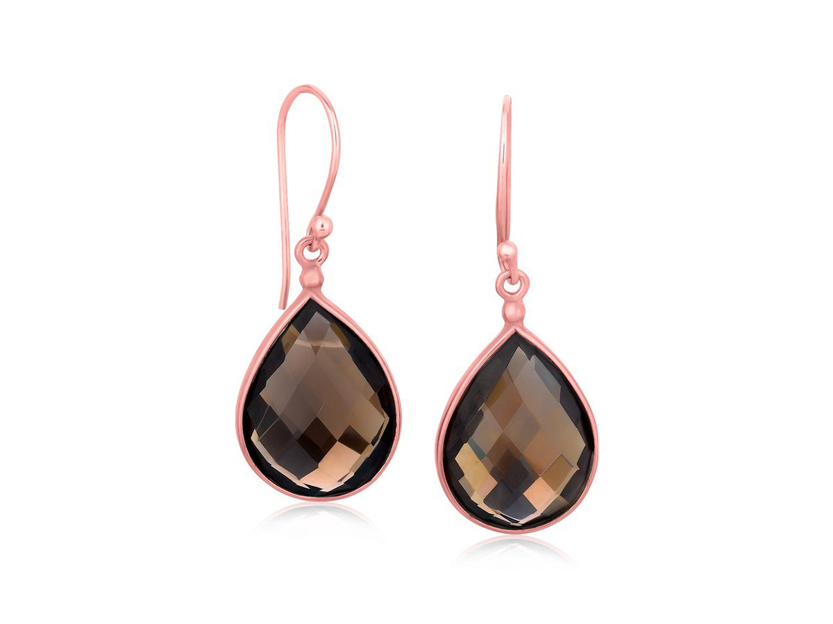 Smokey Quartz Teardrop Dangling Earrings in Rose Gold Plated Sterling Silver