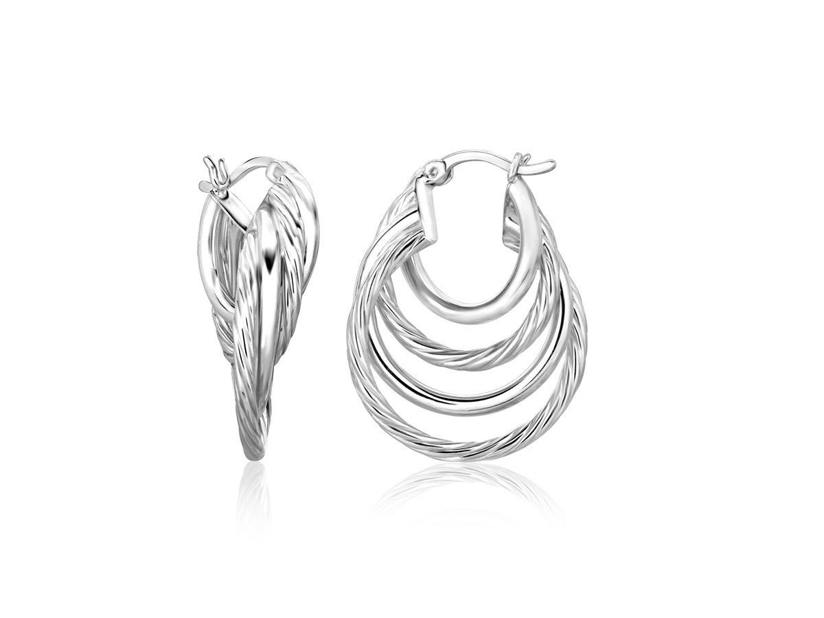 Interlaced Multi-Textured Round Hoop Earrings Rhodium Plated 925 Sterling Silver