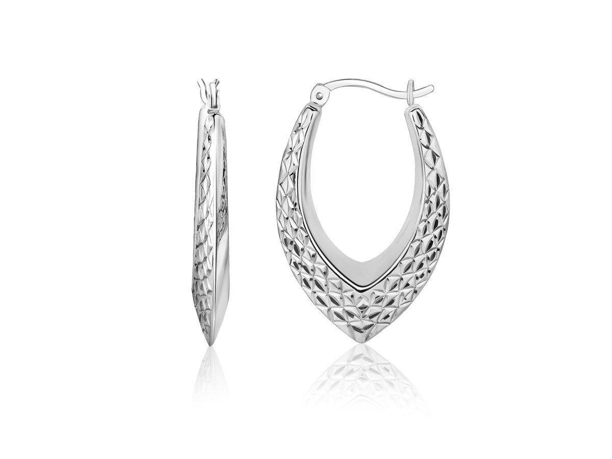 Woven Texture Hoop Earrings in Rhodium Plated 925 Sterling Silver