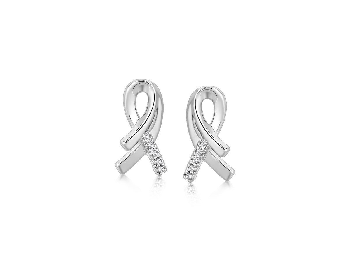 Diamond Accented Awareness Ribbon Earrings Rhodium Plated 925 Sterling Silver