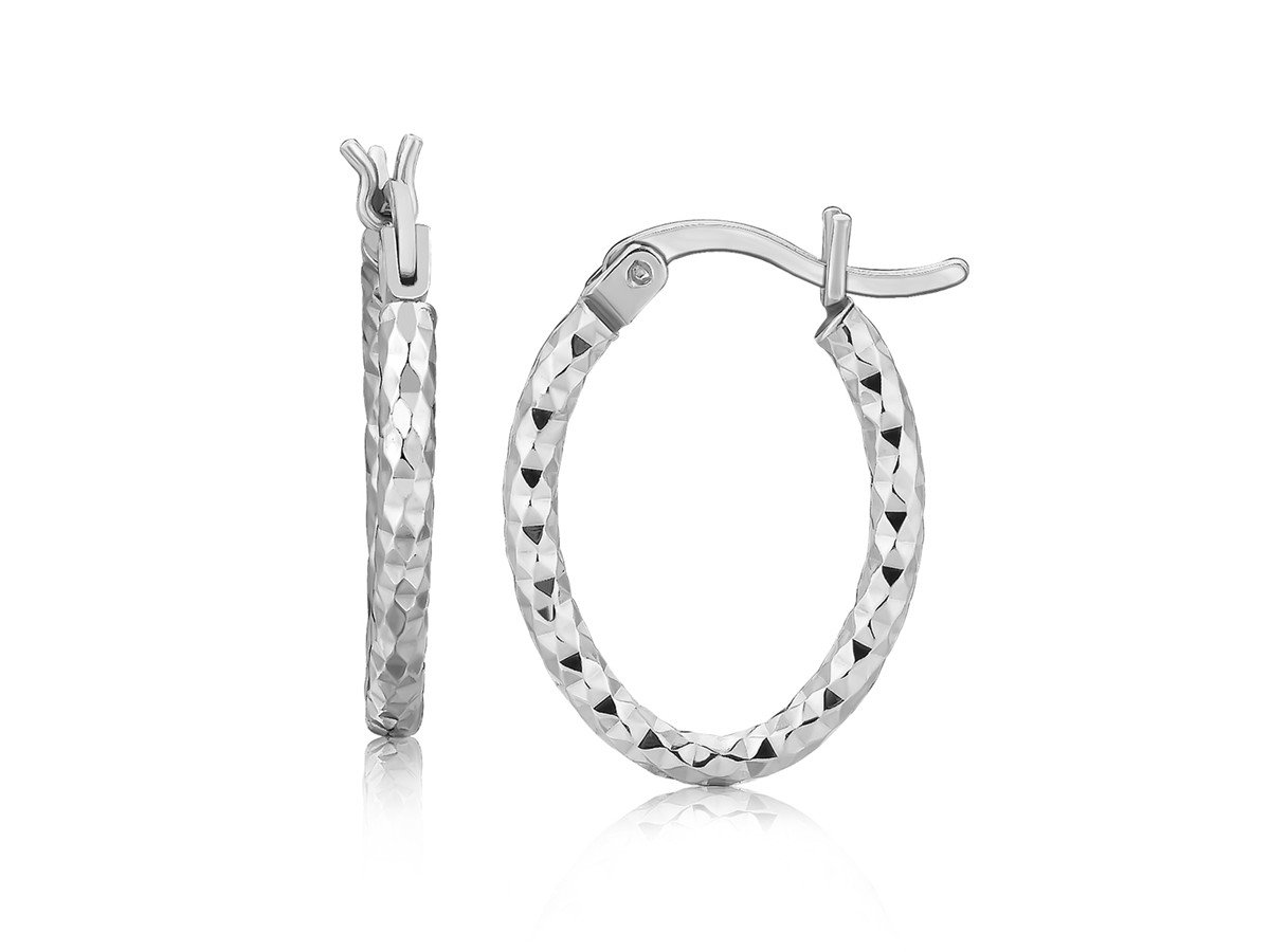 Diamond Cut Small Oval Hoop Earrings Rhodium Plated Sterling Silver