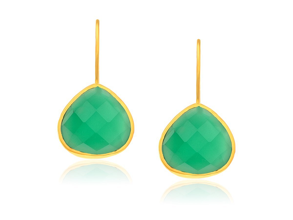 Faceted Green Onyx Teardrop Earrings in Yellow Gold Plated Sterling Silver