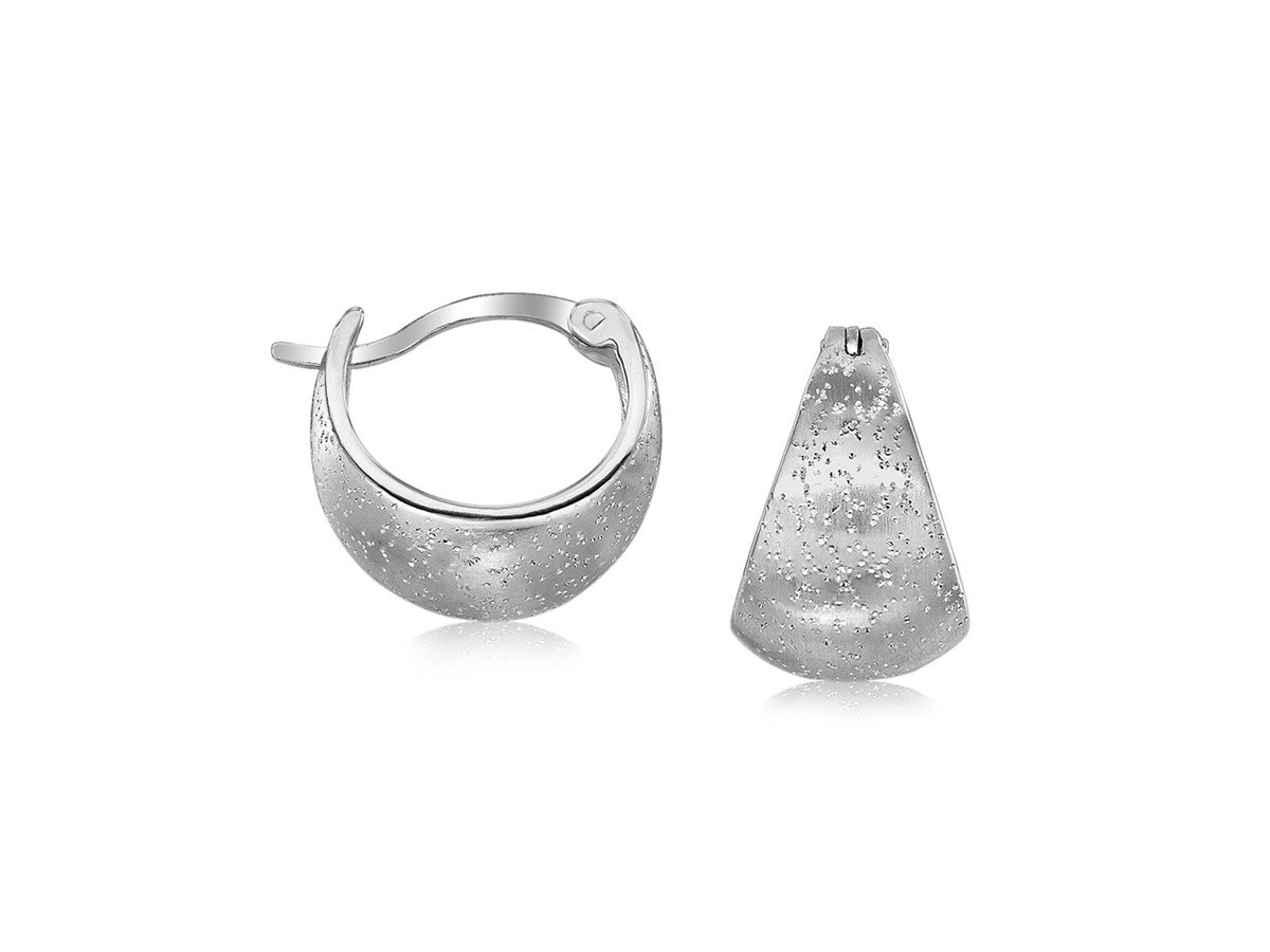Domed Half Hoop Earrings with Stardust Texture in Rhodium Plated Sterling Silver