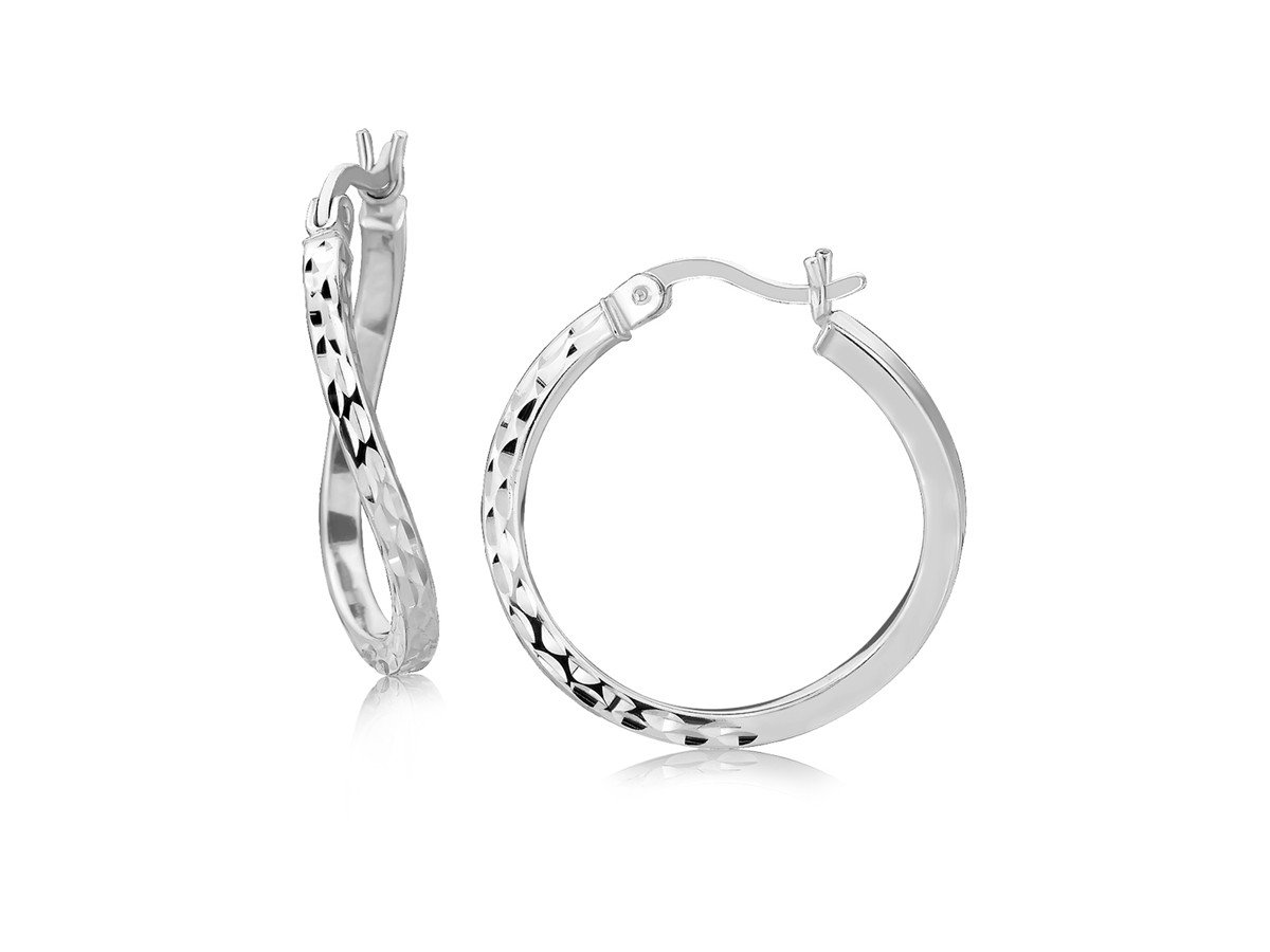 Twisted Diamond Cut Hoop Earrings in Rhodium Plated Sterling Silver (20mm)