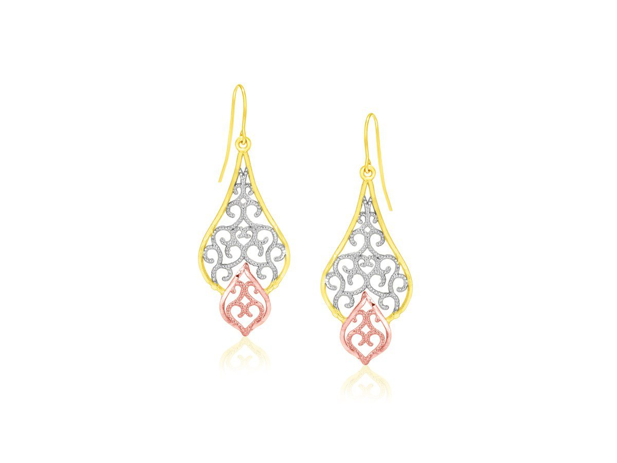 Fancy Filigree Style Drop Dangling Earrings in 10K Tri-Color Rose White Yellow Gold