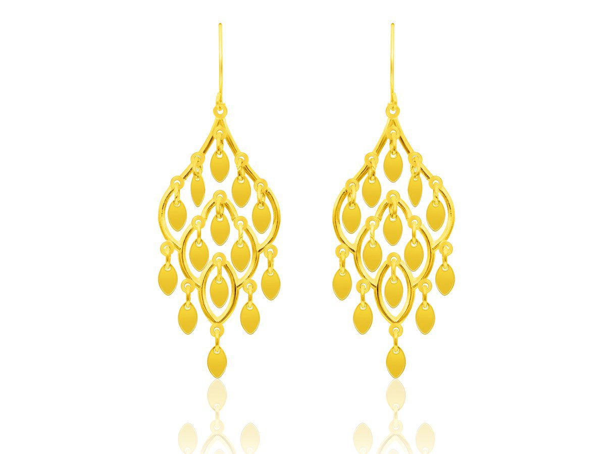 Lace Style Cascading Earrings in 10K Yellow Gold