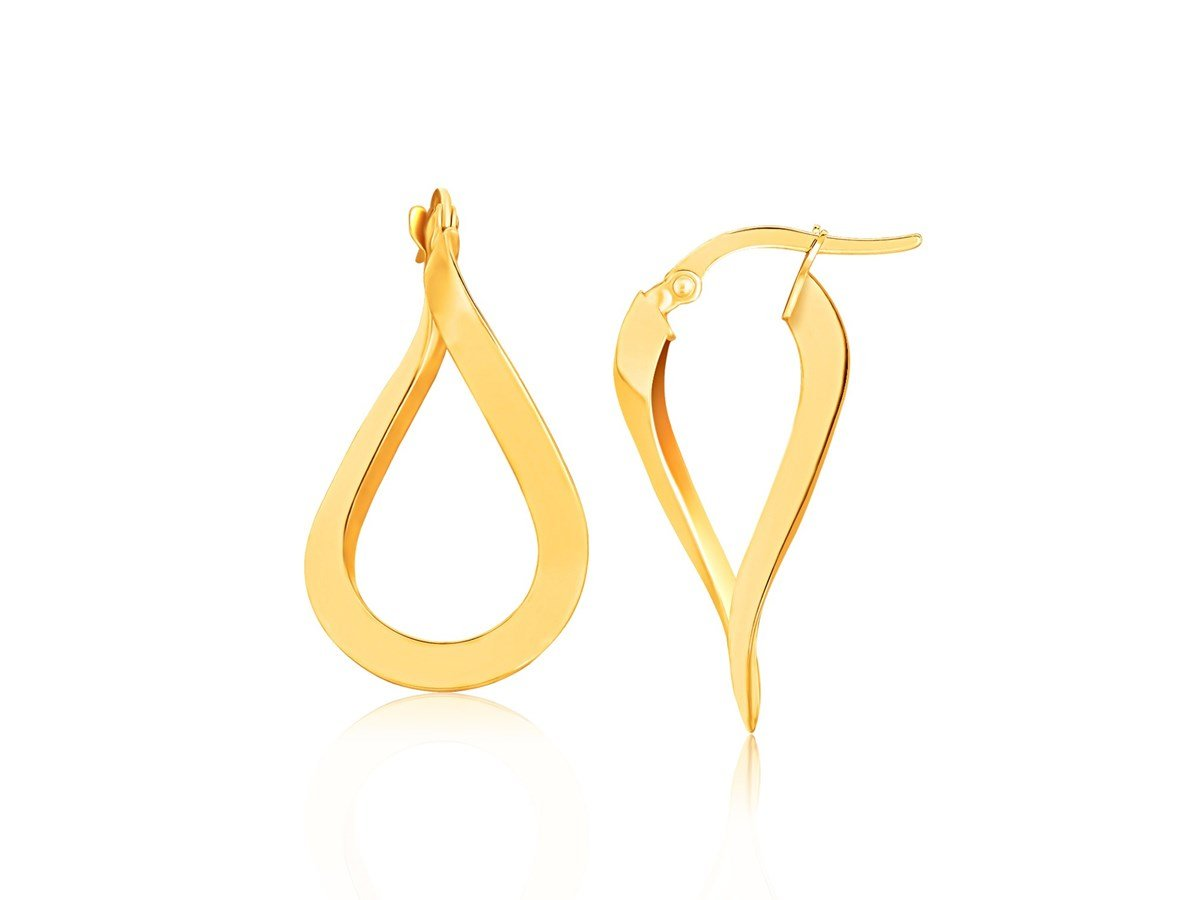 Polished Twist Freeform Hoop Earrings in 10K Yellow Gold