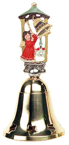 German Christmas Brass Bell with Pewter Angel Handle