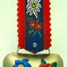 Medium Edelweiss Cow Bell with Red Strap