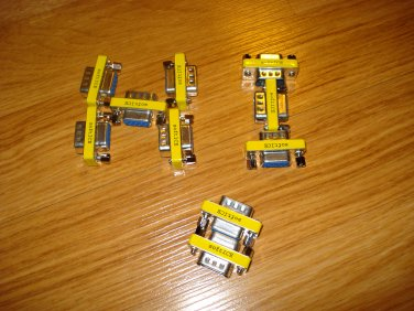 NULL Modem RS232 Mini Adapters. Lot of 10pcs. Female DB-9 to Male DB-9.