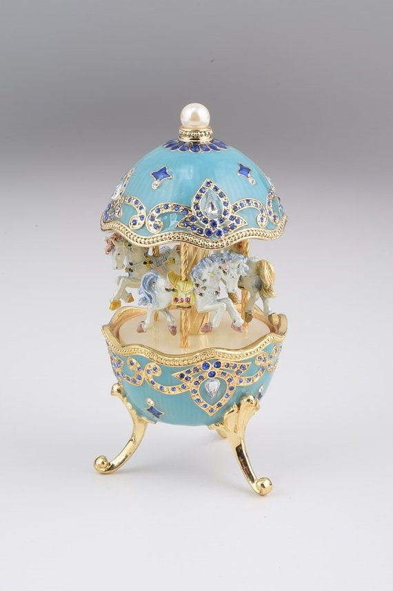Light Blue Fabergé Style Egg w/ Horse Carousel
