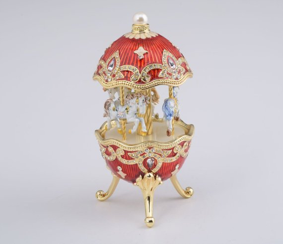 Red Fabergé Style Egg w/ Horse Carousel