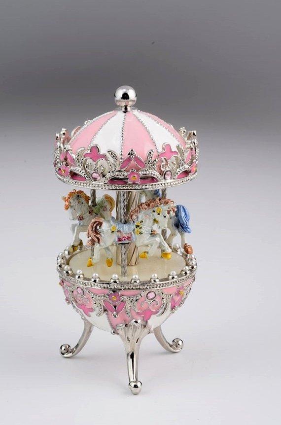 Pink & White Spinning Music Playing Carousel w/ White Royal Horses