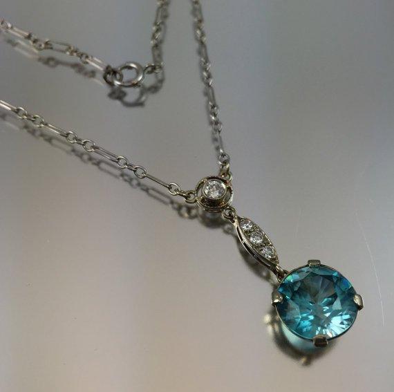 Rare Edwardian 14K Zircon & Diamond Lavaliere Pendant Necklace