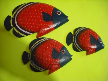 Red Fish Wooden Figures