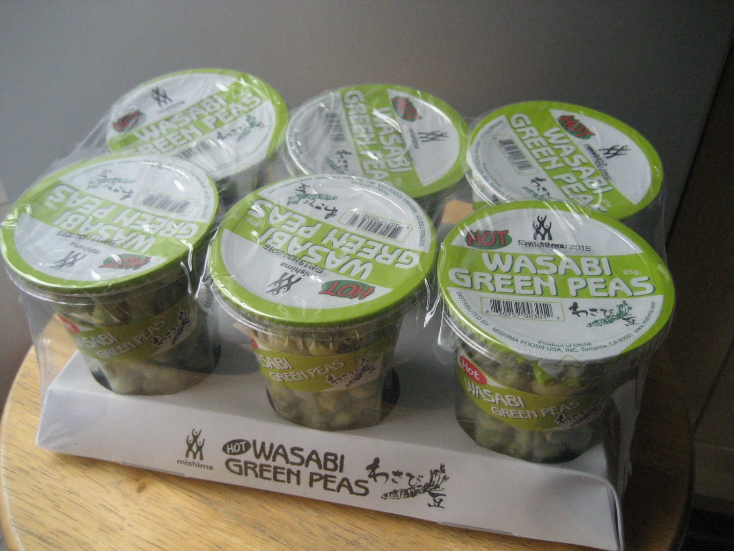 Japanese Snacks: Wasabi Peas by Mishima - 6 x 85g (Cups)