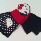 SALE Hello Kitty Black and White Polka Dot Fingerless Gloves FREE Shipping