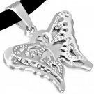 "18"" SILVER 316 STAINLESS STEEL FILIGREE BUTTERFLY CORD NECKLACE"