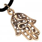 "18"" BRONZE 316 STAINLESS STEEL SNAKE FILIGREE HAMSA HAND CORD NECKLACE"