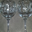 Beautiful Etched Wine Glass Sets