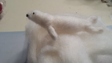Needle Felted White Seal