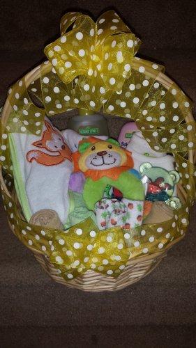 Yellow Polka Dot Neutral Baby Basket