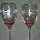 Pink Engagement Etched Wine Glasses