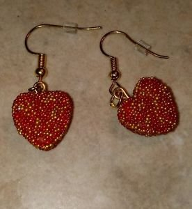 Unique Heart Seed Bead Charm Earrings Valentine Clay Charm Heart Wires