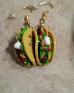 Miniature Clay Taco Charm Earrings Food Jewelry Clay Charms Taco Earrings
