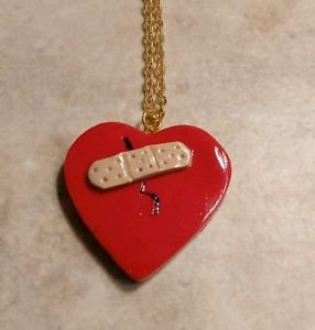 Broken Heart Pendant Necklace Clay Charms Valentine Kids Heart Necklace