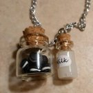 Miniature Chocolate Sandwich Cookie Jar/Milk Necklace Silver Bottle Charms Food