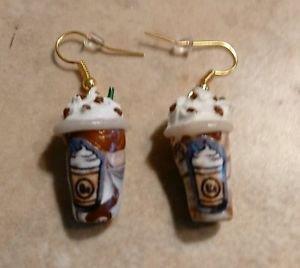 Fun Mocha Frappucino Inspired Coffee Charm Earrings Drink Clay Charm Coffee Gold