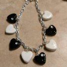 Elegant Black/Whote Heart Charm Bracelet Valentine's Clay Charms Bracelet Silver