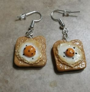 Delicious Egg on Toast Charm Earrings Clay Breakfast Charms Silver Wires