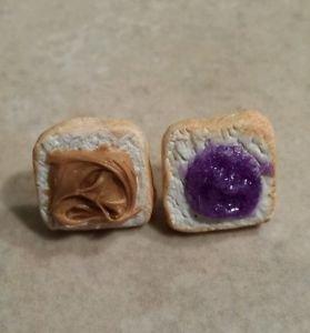 Cute Peanut Butter and Jelly Stud Earrings Food Jewelry Stud Kids Jewelry Silver