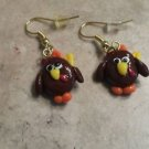 Fun Turkey Wire Charm Earrings Clay Charms Fall Animal Kids Wires