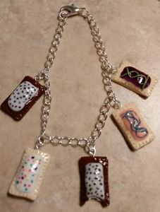 Fun Miniature Pop Tart Inspired Charm Bracelet Clay Food Charms Breakfast Silver