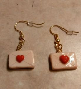 Unique Valentine Envelope Charm Earrings Clay Charms Valentine Gold Tone Wires