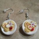 Cute Cookie Plate Charm Earrings Clay Charms Cookies Wires Holiday Food Dessert