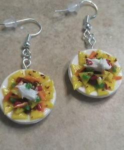 Fun Nacho Charm Earrings Clay Charms Food Jewelry Nachos Unique Earrings Wires