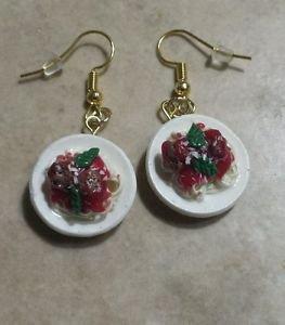 Delicious Spaghetti Plate Charm Earrings Food Clay Charms Meatball Charm Earring