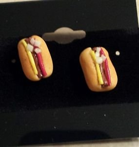 Hot Dog Clay Studs Clay Charms Stud Earrings Food Jewelry Hot Dog