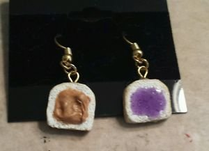 Cute Peanut Butter and Jelly Wire Earrings Clay Charms Food Kids Wires Sandwich