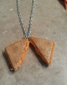 Fun Grilled Cheese Charm Necklace Clay Charms Food Kids Sandwich Necklace Unique