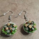 Delicious Miniature Salad Bowl Earrings Clay Charms Food Salad Silver Wires Food