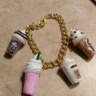 Cute Frappucino inspire Charm Bracelet Coffee Charms Clay Charms Goldtone